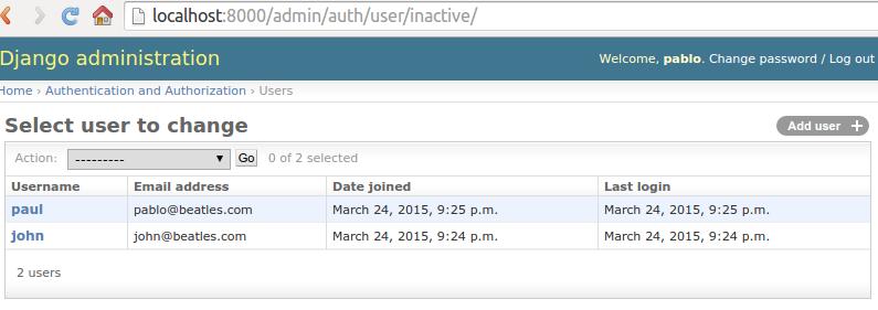 Custom list view of users